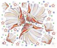 Mar de la concha marina, estrella, acuarela Fotografía de archivo libre de regalías