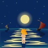 Mar de la noche stock de ilustración