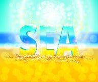 mar de la palabra 3d, fondo del vector Foto de archivo libre de regalías