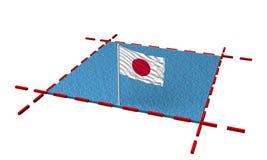 Mar de la parte con las fronteras y la bandera de Japón stock de ilustración