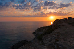 Mar de la puesta del sol Fotos de archivo libres de regalías