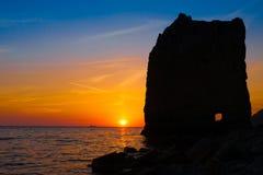 Mar de la puesta del sol Imagen de archivo libre de regalías