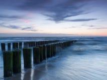 Mar de la puesta del sol Fotos de archivo