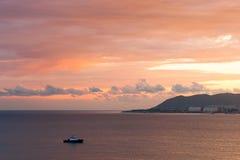 Mar de la puesta del sol y de la tarde Imagen de archivo libre de regalías