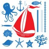 Mar de la silueta - sistema dibujado mano de símbolos del mar Imagen de archivo libre de regalías