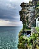 Mar de Liguria del cinqueterre de la ciudad del paisaje de Vernazza Liguria Italia Foto de archivo libre de regalías