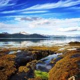 Mar de Peacefull y cielo azul Fotos de archivo