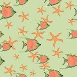 Mar de pescados y de estrellas de mar anaranjados libre illustration