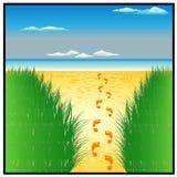 Mar de Sun e praia bonita ilustração stock