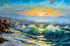Mar de tempestade em um declínio Imagens de Stock Royalty Free