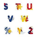 Mar del alfabeto de S a Z Imágenes de archivo libres de regalías
