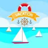 Mar del barco del yate de la vela, navegando el logotipo de las vacaciones del océano Foto de archivo
