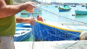 Mar del barco del pescador metrajes