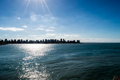 Mar del plata. City from the sea Stock Images