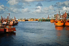 Mar del Plata port. Typical orange fishing boats on the port of the coastal city of  Mar del Plata, Argentina Stock Images