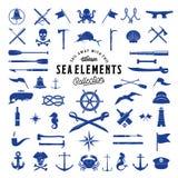 Mar del vector del vintage o sistema de elementos náutico del icono para sus etiquetas, insignias y logotipos retros