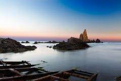 Mar después de la puesta del sol en el del Gata, Almería, España de Cabo imágenes de archivo libres de regalías