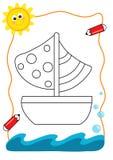Mar do livro de coloração, o barco Foto de Stock