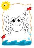 Mar do livro de coloração, o caranguejo Foto de Stock