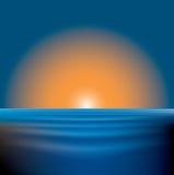 Mar do por do sol ilustração do vetor