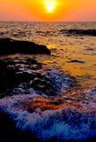Mar do por do sol Fotografia de Stock