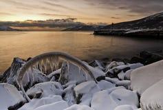 Mar do por do sol do ââOkhotsk imagem de stock royalty free