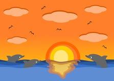 Mar do por do sol e a ilustração bonita dos desenhos animados dos golfinhos Foto de Stock Royalty Free