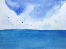 Mar e c?u azuis da paisagem da aquarela com p?ssaros ilustração do vetor