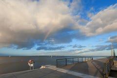 Mar e céu em Aarhus em Dinamarca Fotografia de Stock