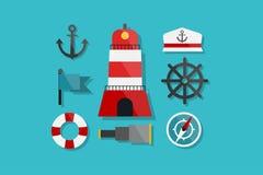 Mar e iconos náuticos del elemento del ejemplo de Marine Icons Flat Design Vector fijados Fotos de archivo libres de regalías