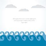 Mar e nuvem. cartão da ilustração. Imagens de Stock