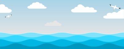 Mar e pássaros do céu Fotos de Stock