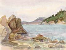 Mar e pedras ilustração do vetor