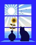 Mar e sol fora do indicador ilustração stock