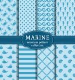 Mar e testes padrões sem emenda náuticos ajustados Fotografia de Stock