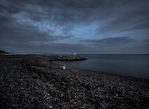 Mar, el Mar Negro, noche, cielo, nubes, Rusia Fotos de archivo