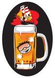 Mar engraçado da imagem da cerveja em 6 cores ilustração do vetor