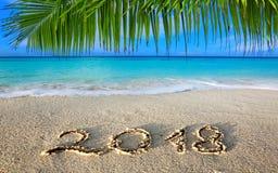 Mar escrito y del Caribe de la inscripción 2018 del Año Nuevo con la palma verde Fotografía de archivo libre de regalías