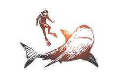 Mar, fauna, tibur?n, nadada, concepto subacu?tico, marino Vector aislado dibujado mano libre illustration