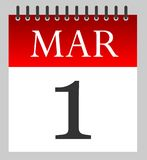 1 Mar - First of March - Daily Calendar. Illustration - Vector Royalty Free Stock Photo