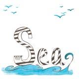 Mar Frase tipográfica inspirada de la acuarela Imagen de archivo libre de regalías