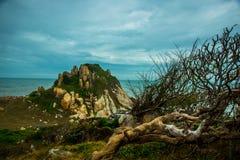 Mar hermoso con las ondas y las montañas Silueta del hombre de negocios Cowering Mui Ne, Phan Thiet, Vietnam Imágenes de archivo libres de regalías