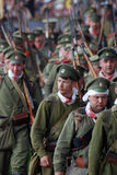 Marсhing Russian soldiers-reenactors. Stock Photo