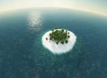 Mar, ilha tropical, palma, ilustração do sol 3D Fotos de Stock Royalty Free