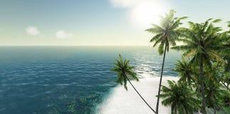 Mar, ilha tropical, palma, rendição do sol 3d Imagens de Stock