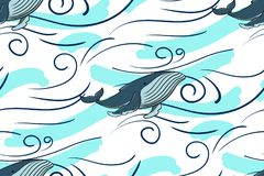 Mar inconsútil del modelo y ballena azul En un fondo blanco ilustración del vector