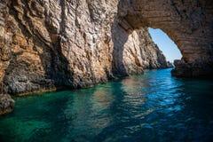 Mar Ionio azzurro in Zacinto, Grecia Fotografia Stock