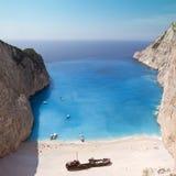 Mar jónico de la playa de Navagio Foto de archivo libre de regalías