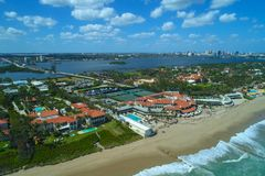 Aerial image of Mar A Lago Resort and playground of the wealthy. Mar A Lago Florida beachfront resort shot with a drone stock photo