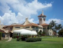 Mar-a-Lago outdoor view. President Trump's winter White House. Cell phone picture from 2011 of main house and garden Royalty Free Stock Photo